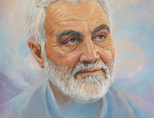 نقاشی پرتره شهید حاج قاسم سلیمانی